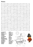 Pirates Word Search and Color