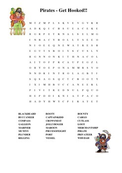 Pirates Word Search and Maze