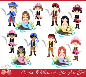 Pirates and Mermaids Clipart Set
