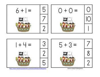 Pirates and Parrots Addition Math Centers (Sums of 0-10)