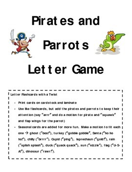Pirates and Parrots Letter Game