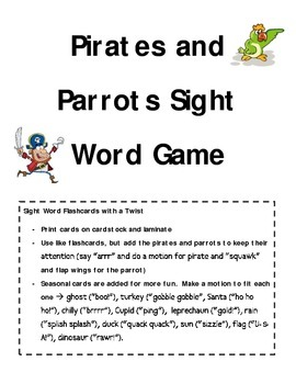 Pirates and Parrots Sight Word Game