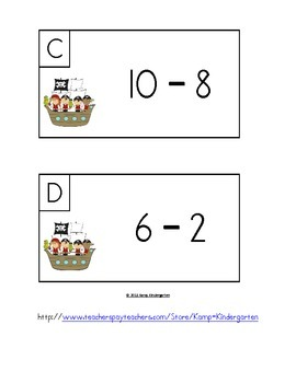 Pirates and Parrots Subtract the Room (Minuends to 10)