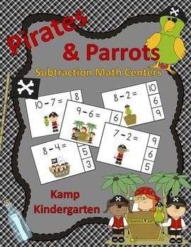 Pirates and Parrots Subtraction Math Centers  (Minuends to 10)