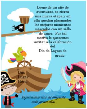 Pirates boat Invitation Editable!!!!