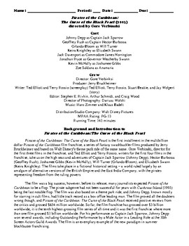 Pirates of the Caribbean Film (2003) Study Guide Movie Packet