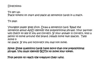 Pirates of the Prepostion Partner Game (Common Core Aligned)