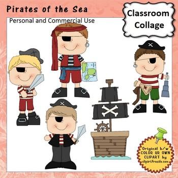 Pirates of the Sea Clip Art - Color - personal & commercial use