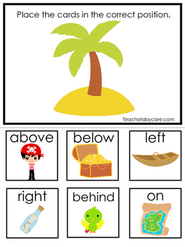 Pirates themed Positional Game.  Printable Preschool Curriculum Game