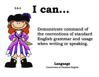 Piratespirate 1st grade English Common core standards posters