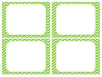 Pistachio Green Chevron Task Card/Scoot Card Templates