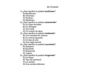 Pistas de Contexto (Spanish Worksheets)