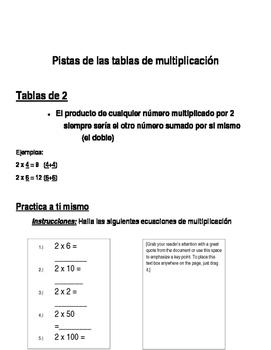Pistas de las tablas de multiplicación/ Multiplication Tricks in Spanish