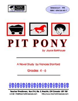 Pit Pony  by Joyce Barkhouse: Novel study for Grades 4-6