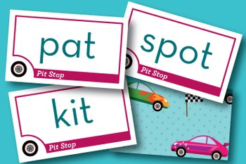 Pit Stop Mixed Vowel Word Families Phonics Game - Words Their Way Game