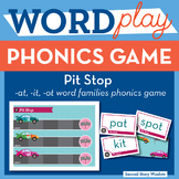 Pit Stop Mixed Vowel Word Families FREE Phonics Game -  Wo