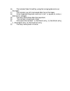 Pit and Pendulum Reading Check Test/Quiz