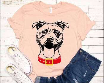Pit bull Whit collar svg dog face head American puppy Pitbull 1495s