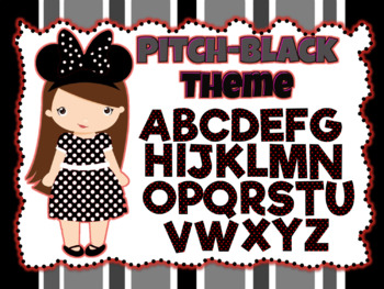 Pitch-Black and Red Theme: 100 Alphabet, Numbers and Symbols clip arts