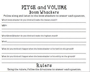 Sound- Pitch and Volume Activity and Sort.