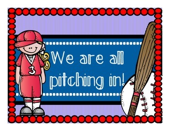 Pitching In Classroom Jobs (Baseball/Sports Theme)
