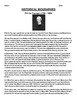 Pitt the Younger Biography Article and (3) Assignments