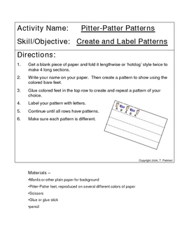 Pitter-Patter Patterns - create and label patterns
