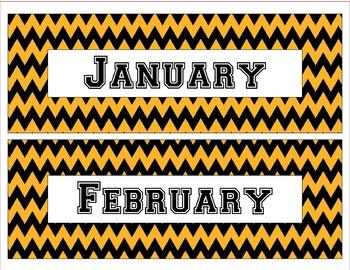 Pittsburgh Steelers Inspired Black & Gold Chevron Calendar Pieces-Editable