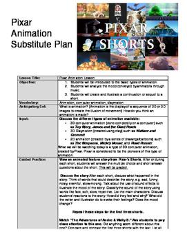 Pixar Substitute Plan for Art Teachers