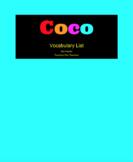Pixar's Film Coco - Vocabulary List