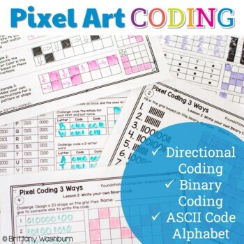 Pixel Art Coding - 3 unplugged computer science lessons