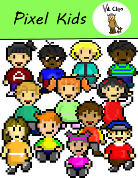 Pixel Art School Kids {Video Game Style Clip Art}