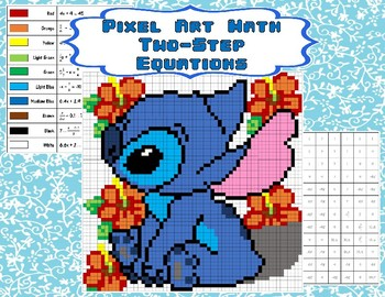 Pixel Art Math Two Step Equations Stitch By Jstalling Tpt