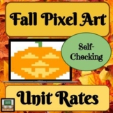 Pixel Art Math - Unit Rates - Fall Math - Halloween Math