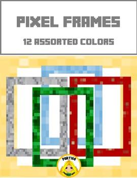 Pixel Border Frames 12 assorted colors