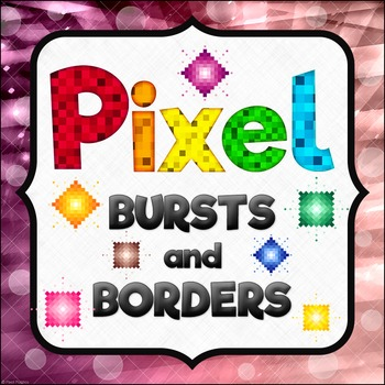 Pixel Bursts and Borders Clipart