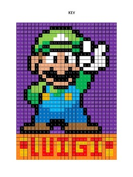 Pixel Color by Number - LUIGI - NINTENDO Mario Brothers - Busy/Sub Work
