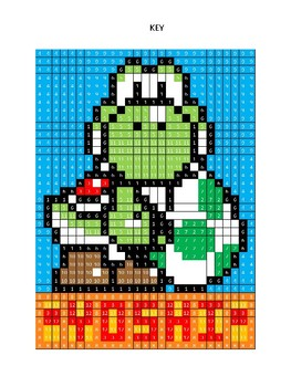 Pixel Color by Number - Yoshi - NINTENDO Mario Brothers - Busy/Sub Work