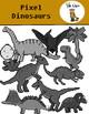 Pixel Dinosaur Clip Art {Video Game Style Clip Art}
