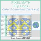 Pixel Art Math -Summer Flip Flops- Order of Operations (Two Steps) No Negatives