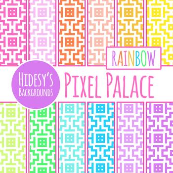 Pixel Rainbow Backgrounds / Digital Paper Clip Art Set Commercial Use