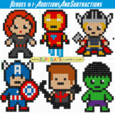 Pixel Super Heroes 1 - Additions and Subtractions - Printable