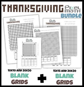 Pixel Thanksgiving Bundle - 10x10 & 15x15 grids for decimals, fractions, percent