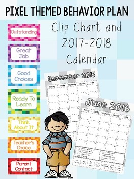 Pixel Themed Clip Chart Behavior Plan and Calendar Sheets