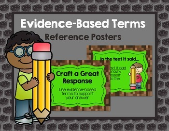 Citing Text Evidence Poster Set and Classroom Decor Pixel Block Craft