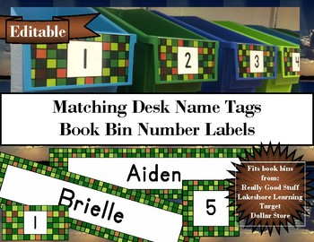 Pixelated Classroom Decor Desk Name Tags (Minecraft Style)