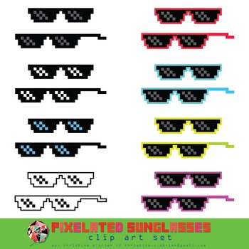 FREE! Pixelated Sunglasses Clip Art Set