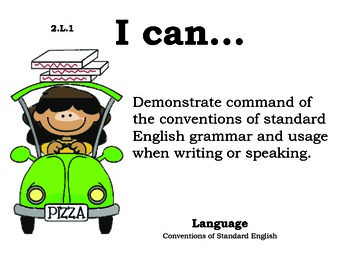 Pizza 2nd grade English Common core standards posters