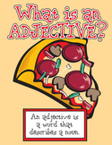 Pizza Adjectives (Language Arts) with bonus poster for Math - Fractions
