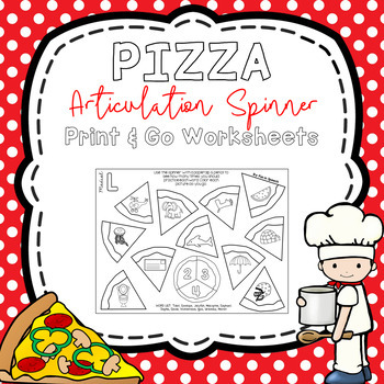 Pizza Articulation Print and Go Spinner Worksheets -50 pages- Great for Homework